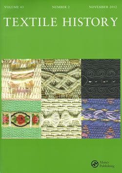 photo of the cover of Textile history November 2012